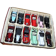 Boxed Set of 12 Die Cast Metal Pull and Go Vintage Cars