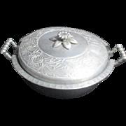 Double Handled Lidded Hammered Aluminum Casserole with Pyrex Glass Insert