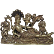 Brass Depiction of Hindu God in Repose Detailed