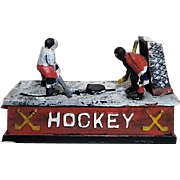 Cast Iron Hockey Players Bank