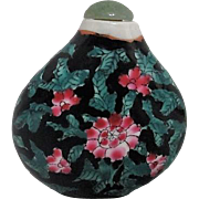 Ceramic Snuff Bottle with Green Jade Stopper Hand Painted Flowers on Black