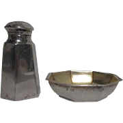 Sterling Silver Open Salt and Pepper Shaker by Wallace Silversmiths Monogrammed
