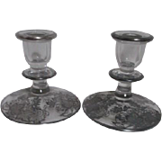 Sterling Silver Overlay on Elegant Glass Candle Holder Pair