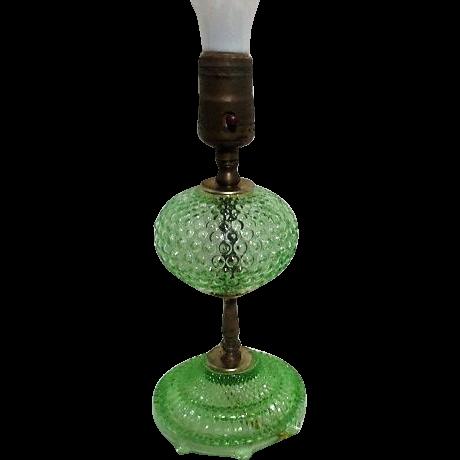 Florescent Green Glass Hobnail Lamp