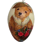 Christmas Decoration Goose Egg with Teddy Bear and Quote by Mother Goose & Assoc