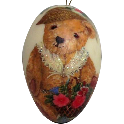 Christmas Decoration Goose Egg With Teddy Bear And Quote