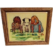 Wooden Framed Tile with Picture of Children and Dog Reading
