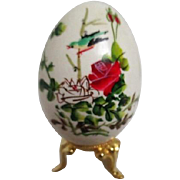 Chinese Hand Painted Egg with Flowers and Bird on Brass Stand