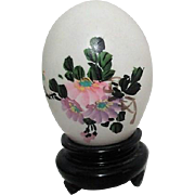 Chinese Hand Painted Egg with Flowers on Wooden Stand