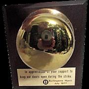 Hyatt Hotel Commemorative Door Knob on Plaque