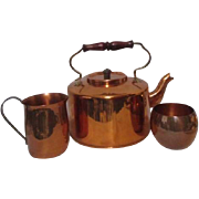 Copper Set of Teapot, Creamer and Sugar Different Mfgs