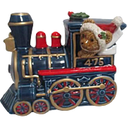 Christmas Train Engine Music Box with Teddy Bear Engineer