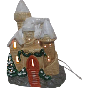 Ceramic Castle Electric Light Christmas Decoration