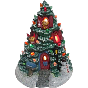 Teddy Bear Lighted Christmas Tree House