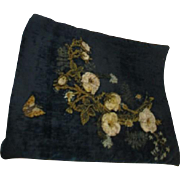 Antique Hand Decorated Pillow Sham with Ribbon Roses and Amber Embroidered Leaves Fern and Butterfly