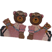 Wooden Teddy Bear Bookends