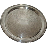 Silver Plated Serving Tray Christian Brothers Wine Tasters Cup 1969 by Sheridan