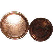 Two Etched Round Copper Serving Trays