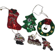 Set of 6 Hand Decorated Christmas Ornaments by Silvestri Sequined and Beaded