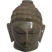 Green Soapstone Head of Buddha Inspirational Paperweight