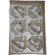 Set of 6 Glass Christmas Bulbs Hand Crafted in Poland
