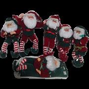 Set of 6 Santa Doll Christmas Tree Ornaments