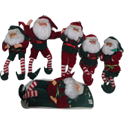 Set of 6 Santa Doll Christmas Tree Ornaments