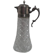 Glass Pitcher with Diamond Pattern Silverplated Top and Handle Ice Holder Insert