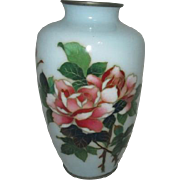 Small Pale Blue Ginbari Foil Cloisonne Jar with Roses