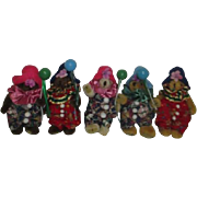 Set of 5 Plush Clown Bear Christmas Ornaments