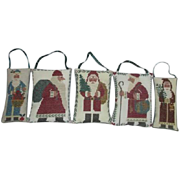 Set of 5 Cross-stitched Pillow Santa Christmas Ornaments