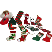 Set of 13 Christmas Stockings and 1 Shoe Hanging Ornaments