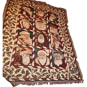 Christmas Throw Tapestry 12 European Santa Faces