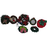 Small Christmas Wreath Ornaments Set of 7