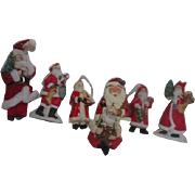 7 Ceramic Hanging Santa Christmas Tree Ornaments