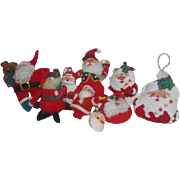 Set of 9 Hanging Santa Claus Christmas Tree Ornaments