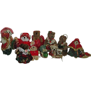 Set of 10 Small Dressed Bears Christmas Tree Ornaments