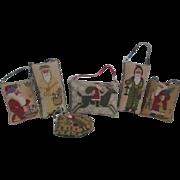 Set of 6 Santa Cross Stitched Hanging Pillows