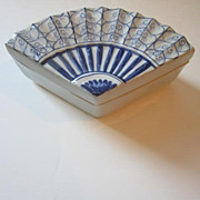 Vintage Fan Shaped Ceramic Box