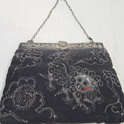 Vintage Oriental  Black Purse With Foo Dog