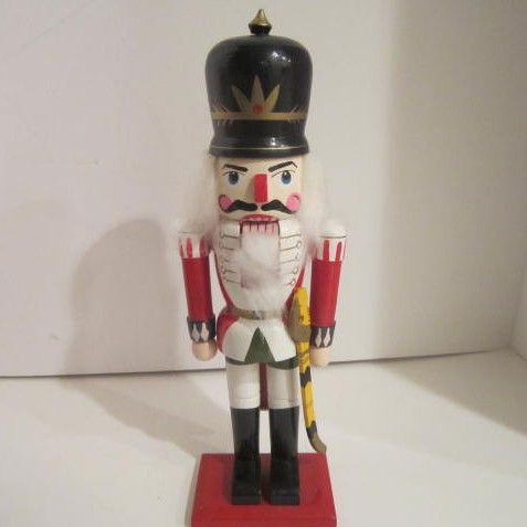 Vintage Nutcracker Soldier with Black Helmet