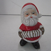 Vintage Ceramic Hand Painted Santa Playing a Concertina