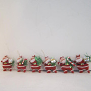 Vintage Set of 6 Dancing Santas Tree Ornaments