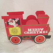 Vintage Paper Train Engine with Santa- Christmas Card Holder