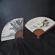 Vintage Hand Painted Oriental Fans