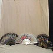 Three Vintage Black and White Lace Fabric Fans One Signed