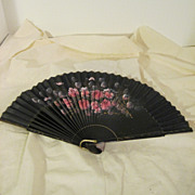 Vintage Hand Painted Black Wood and Fabric Fan with Pink Roses