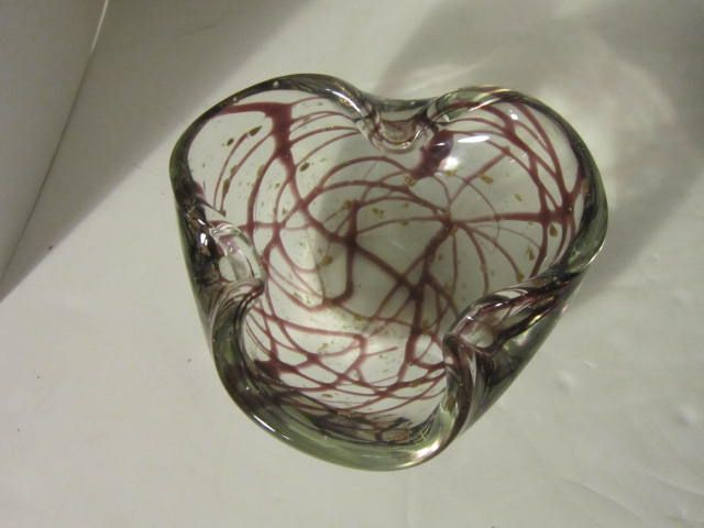 Vintage Clear Red & Gold Art Glass Candy Dish