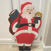 Hand Painted Wood Santa Plaque