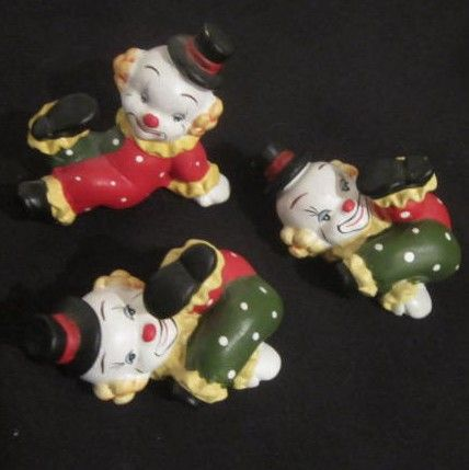 Vintage Set of 3 Clowns In Green and Red